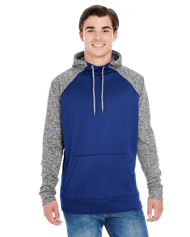 J America Adult Colorblock Cosmic Pullover Hooded Sweatshirt NAVY/ CHRCL FLK