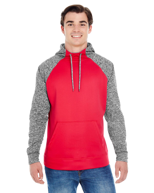 J America Adult Colorblock Cosmic Pullover Hooded Sweatshirt RED/ CHRCOAL FLK