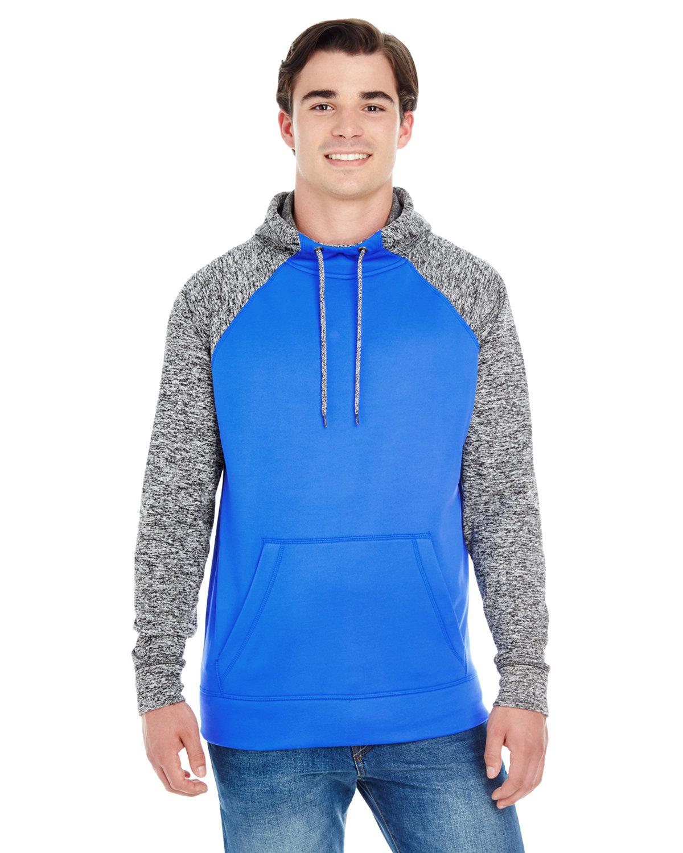 J America Adult Colorblock Cosmic Pullover Hooded Sweatshirt ROYL/ CHRCL FLK
