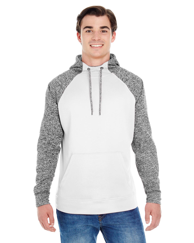 J America Adult Colorblock Cosmic Pullover Hooded Sweatshirt WHITE/ CHRCL FLK