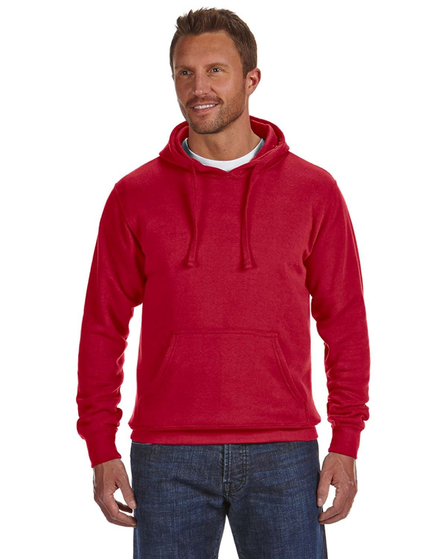 J America Adult Cloud Pullover Fleece Hooded Sweatshirt RED