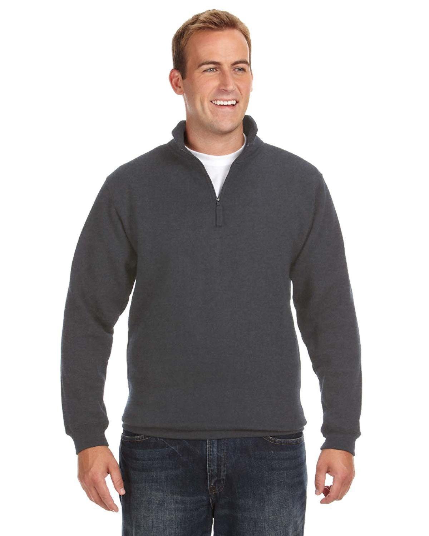J America Adult Heavyweight Fleece Quarter-Zip CHARCOAL HEATHER