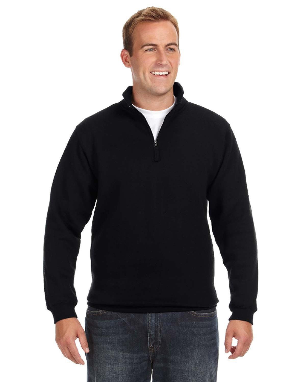 J America Adult Heavyweight Fleece Quarter-Zip BLACK