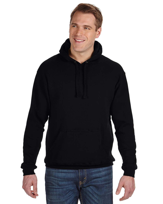 J America Adult Tailgate Fleece Pullover Hooded Sweatshirt BLACK