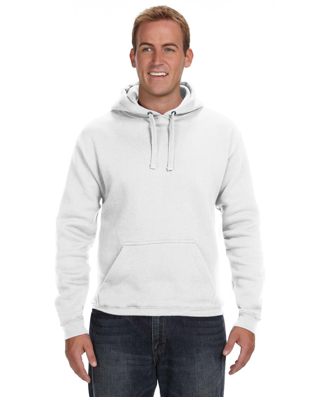 J America Adult Premium Fleece Pullover Hooded Sweatshirt WHITE