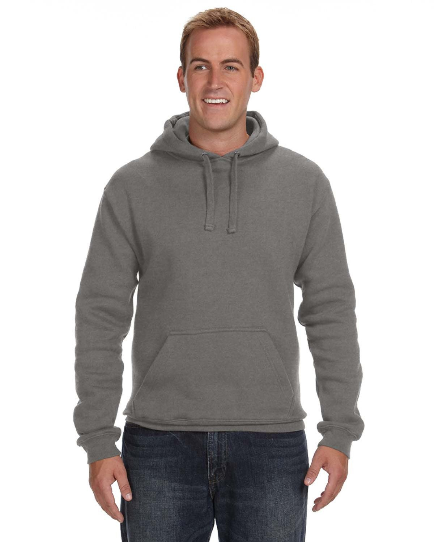 J America Adult Premium Fleece Pullover Hooded Sweatshirt CHARCOAL HEATHER