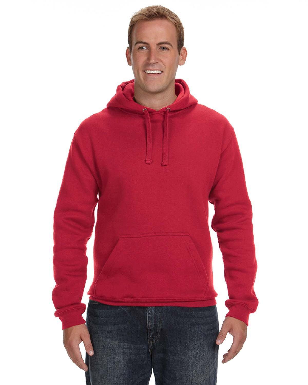 J America Adult Premium Fleece Pullover Hooded Sweatshirt RED