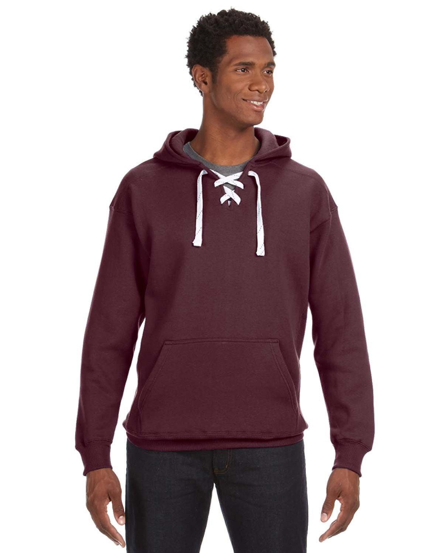 J America Adult Sport Lace Hooded Sweatshirt MAROON