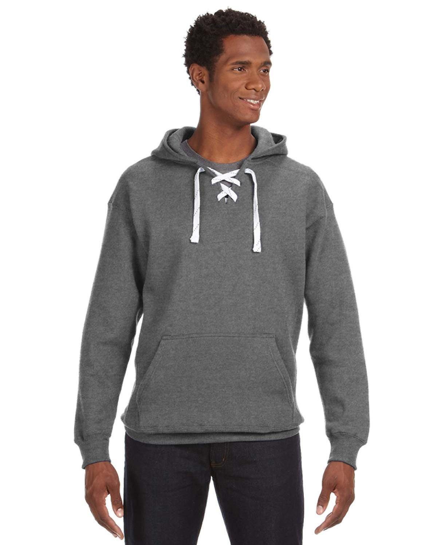 J America Adult Sport Lace Hooded Sweatshirt CHARCOAL HEATHER