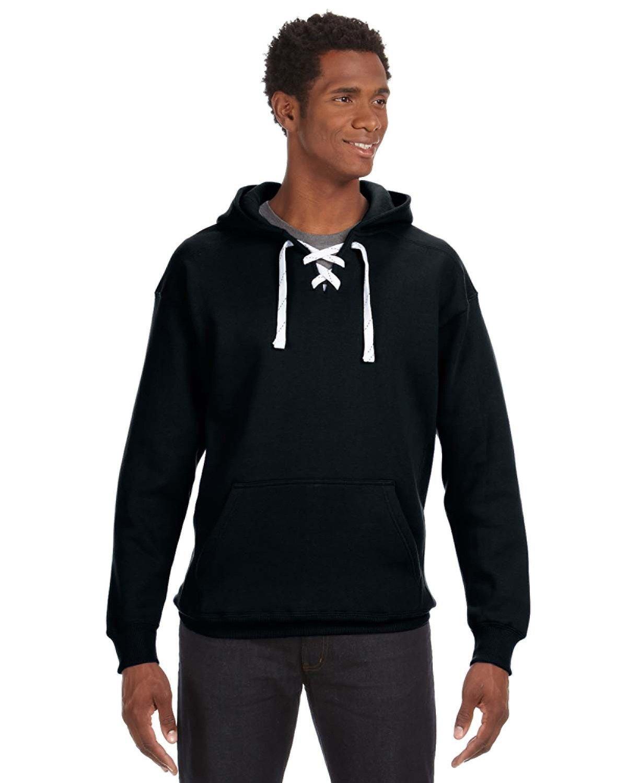 J America Adult Sport Lace Hooded Sweatshirt BLACK