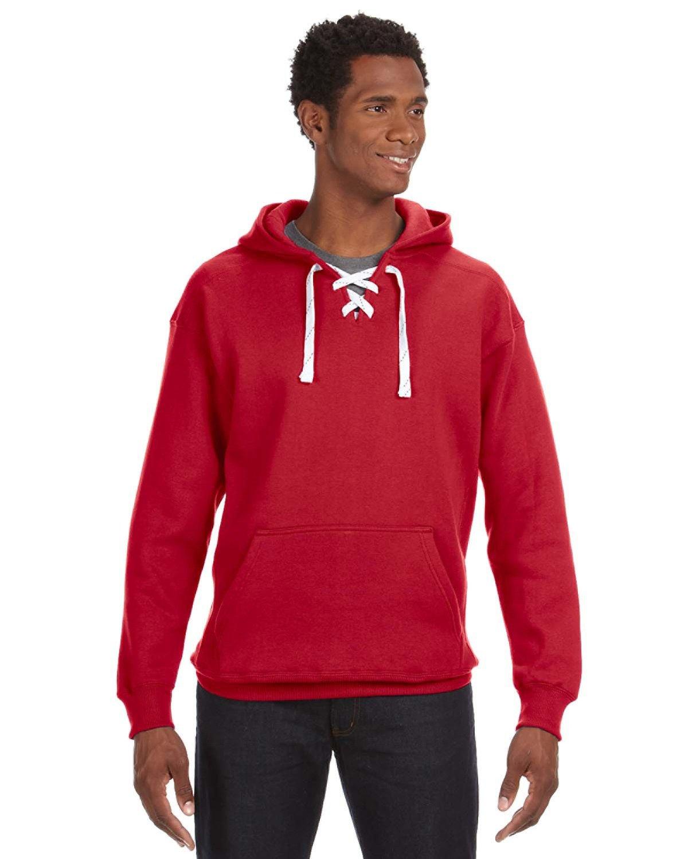 J America Adult Sport Lace Hooded Sweatshirt RED