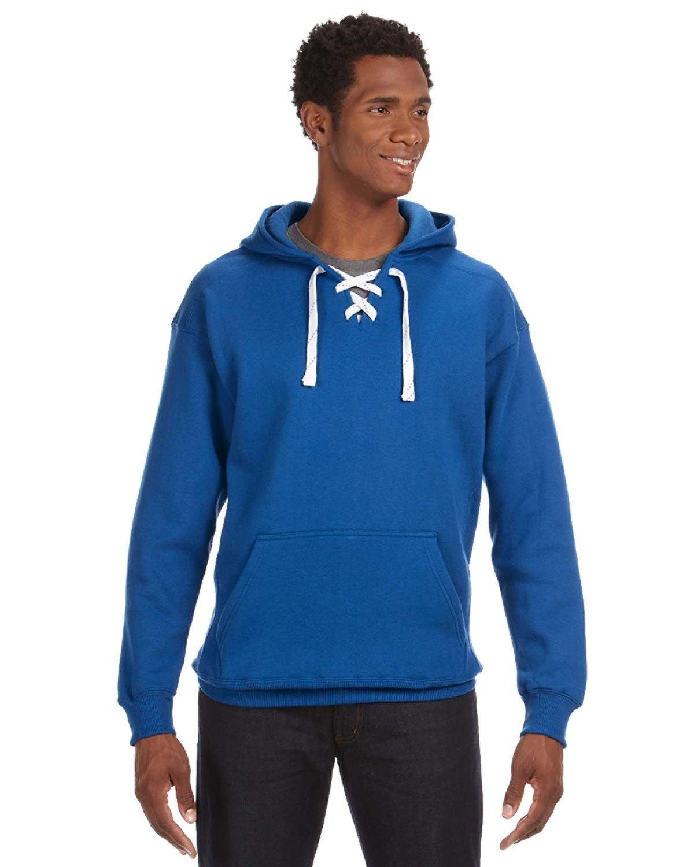 J America Adult Sport Lace Hooded Sweatshirt ROYAL