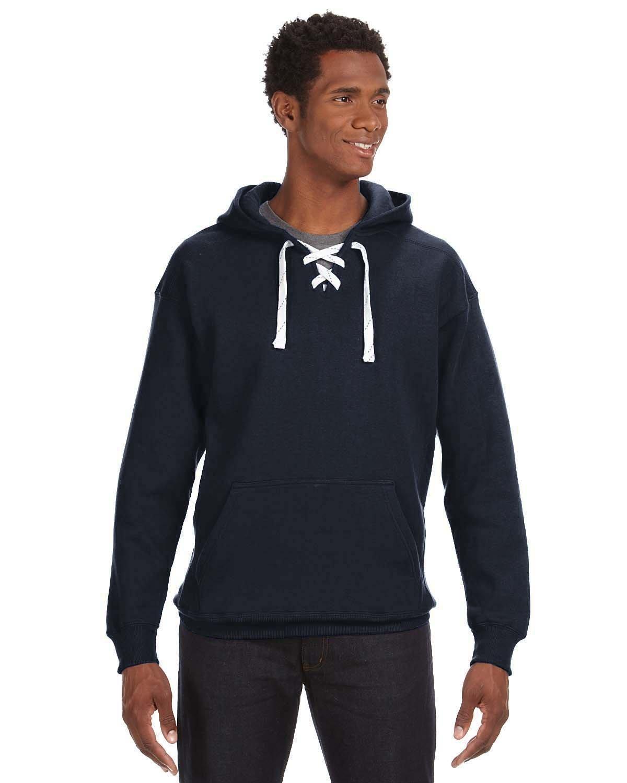J America Adult Sport Lace Hooded Sweatshirt NAVY
