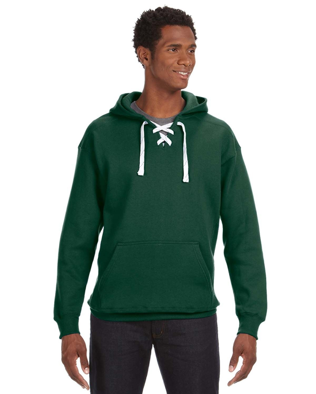 J America Adult Sport Lace Hooded Sweatshirt FOREST GREEN