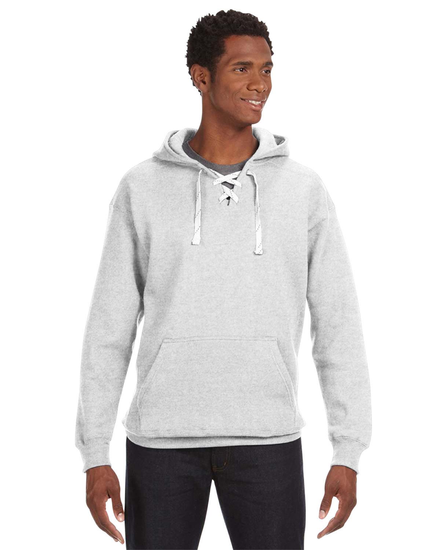 J America Adult Sport Lace Hooded Sweatshirt ASH HEATHER
