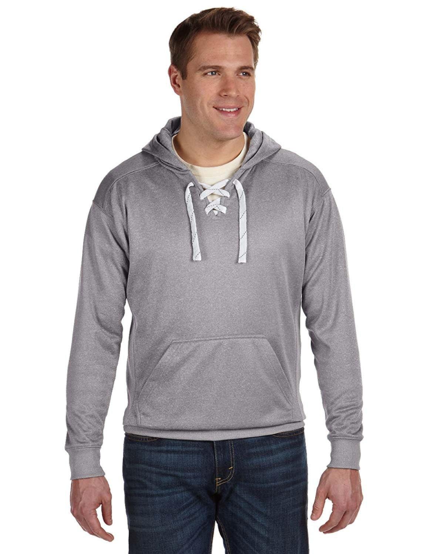 J America Adult Sport Lace Poly Hooded Sweatshirt ATH GREY HEATHER