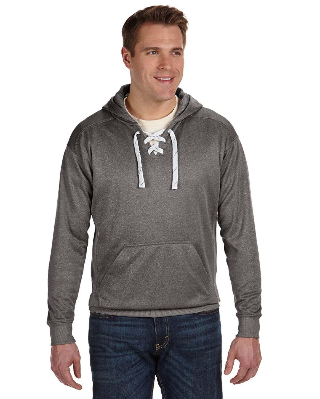 J America Adult Sport Lace Poly Hooded Sweatshirt CHARCOAL HEATHER