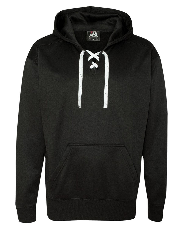 J America Adult Sport Lace Poly Hooded Sweatshirt BLACK