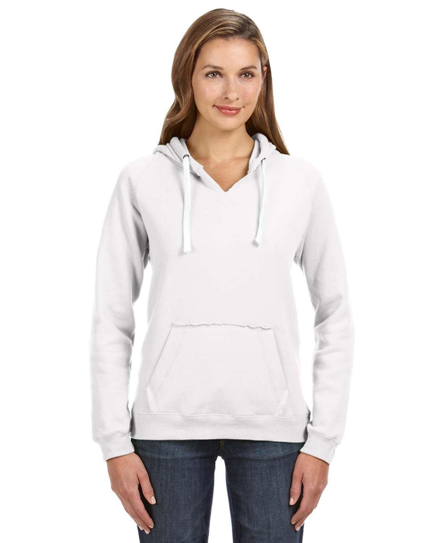 J America Ladies' Sydney Brushed V-Neck Hooded Sweatshirt WHITE