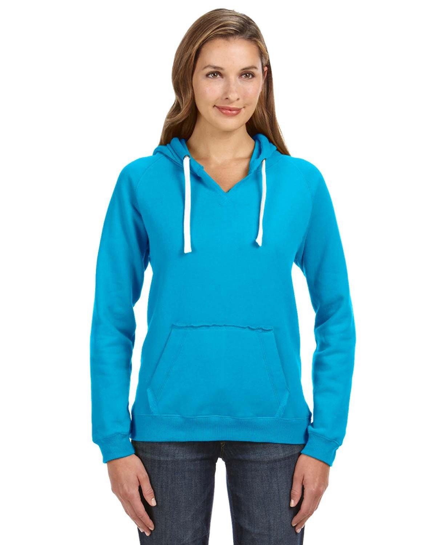 J America Ladies' Sydney Brushed V-Neck Hooded Sweatshirt TURQBERRY