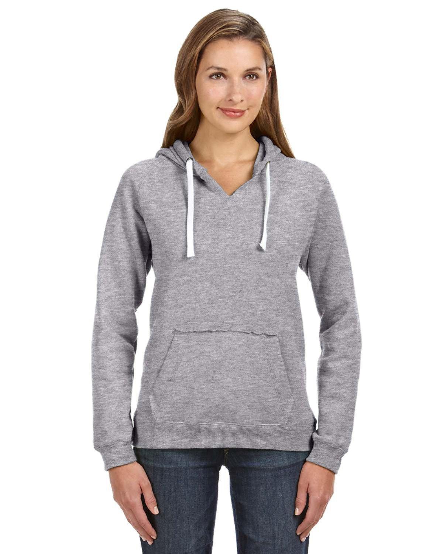 J America Ladies' Sydney Brushed V-Neck Hooded Sweatshirt OXFORD