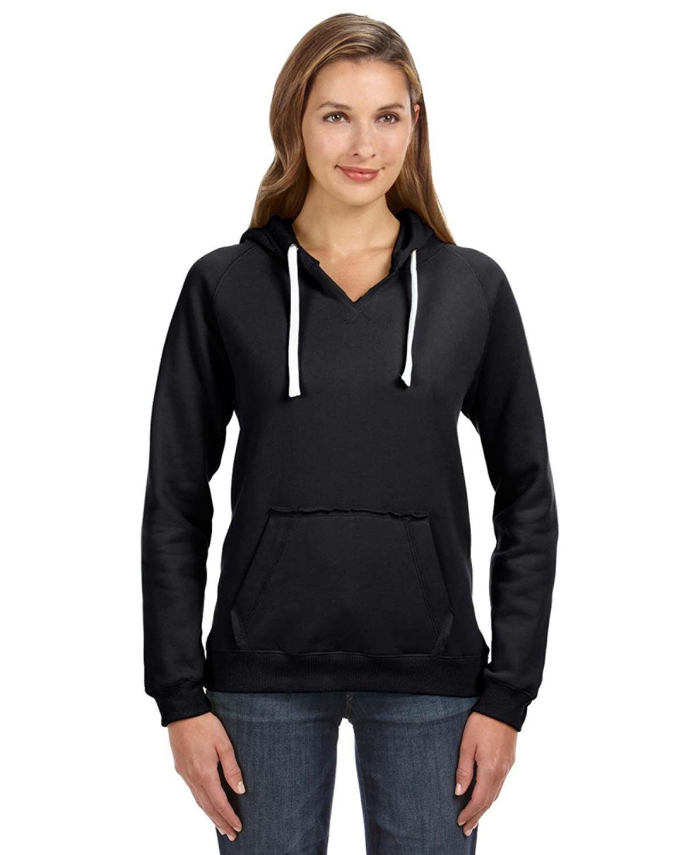 J America Ladies' Sydney Brushed V-Neck Hooded Sweatshirt BLACK