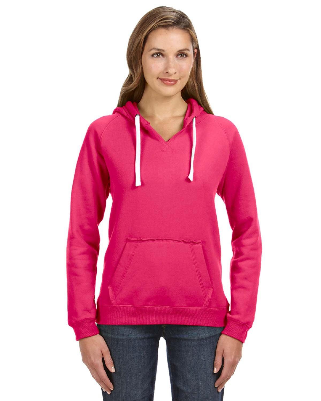 J America Ladies' Sydney Brushed V-Neck Hooded Sweatshirt WILDBERRY