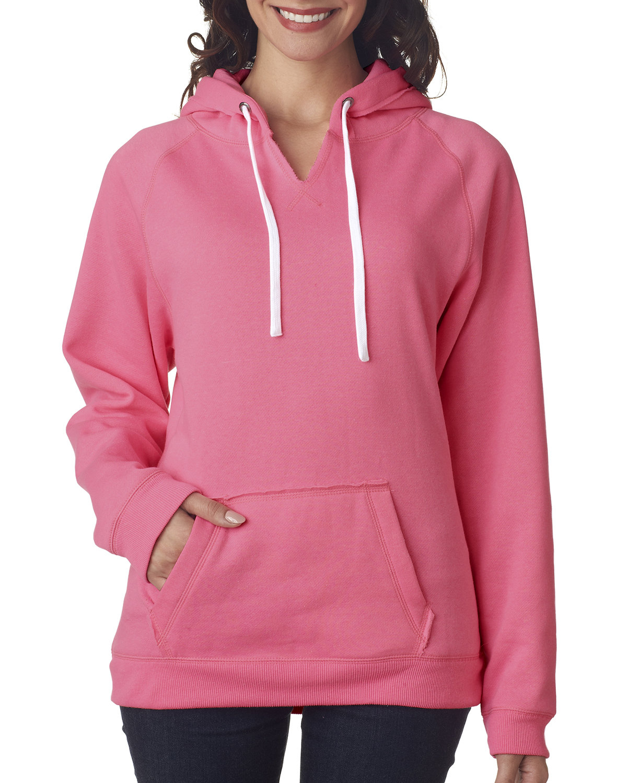 J America Ladies' Sydney Brushed V-Neck Hooded Sweatshirt NEON PINK