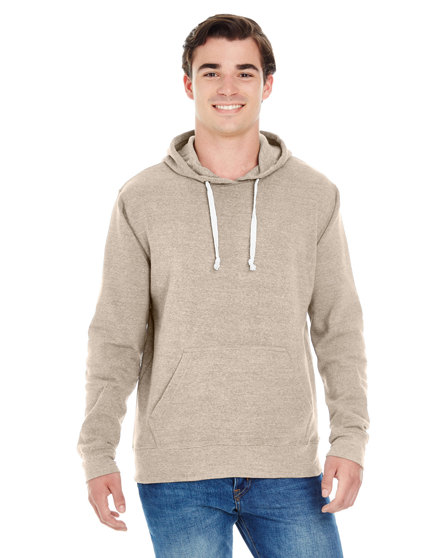 J America Adult Triblend Pullover Fleece Hooded Sweatshirt OATMEAL TRIBLEND