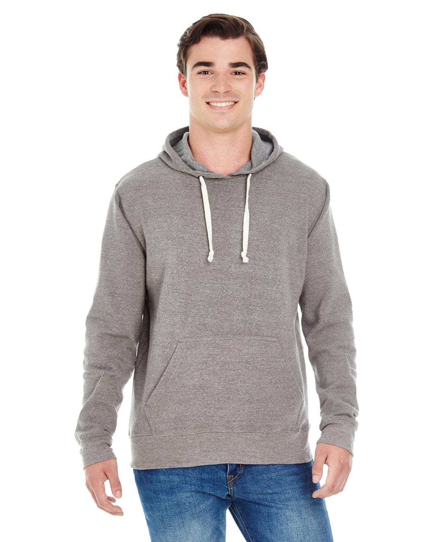 J America Adult Triblend Pullover Fleece Hooded Sweatshirt GREY TRIBLEND