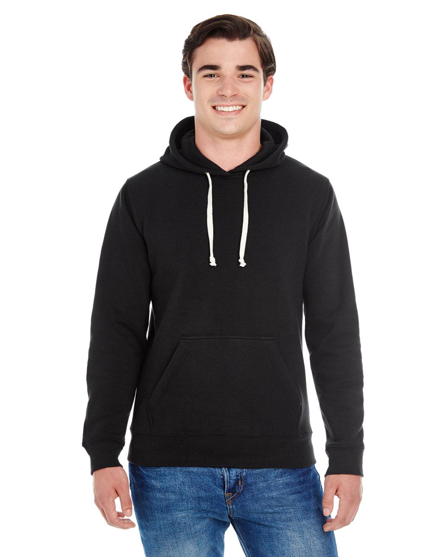 J America Adult Triblend Pullover Fleece Hooded Sweatshirt SOLID BLK TRBLND
