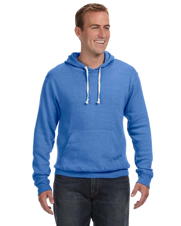 J America Adult Triblend Pullover Fleece Hooded Sweatshirt ROYAL TRIBLEND