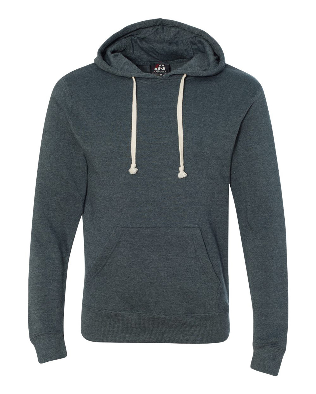 J America Adult Triblend Pullover Fleece Hooded Sweatshirt NAVY TRIBLEND