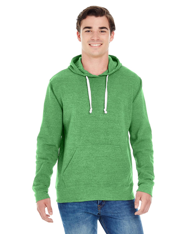 J America Adult Triblend Pullover Fleece Hooded Sweatshirt GREEN TRIBLEND