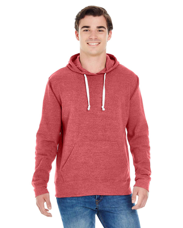 J America Adult Triblend Pullover Fleece Hooded Sweatshirt RED TRIBLEND