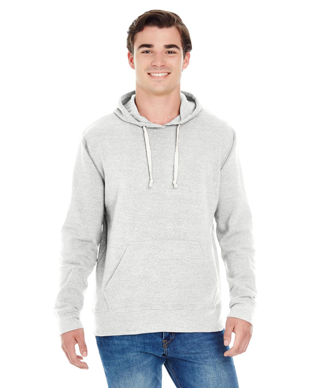 J America Adult Triblend Pullover Fleece Hooded Sweatshirt ANTIQUE WHT TRBL