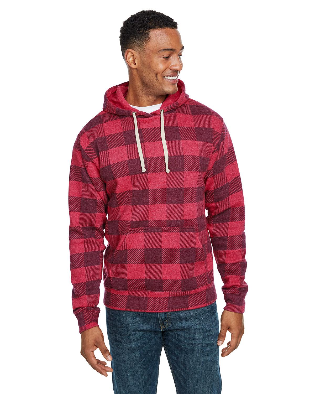 J America Adult Triblend Pullover Fleece Hooded Sweatshirt RED TRBLN BUFLO