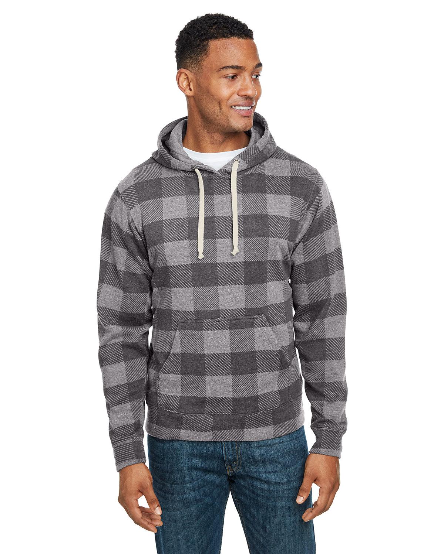 J America Adult Triblend Pullover Fleece Hooded Sweatshirt SMOK TRBLN BUFLO