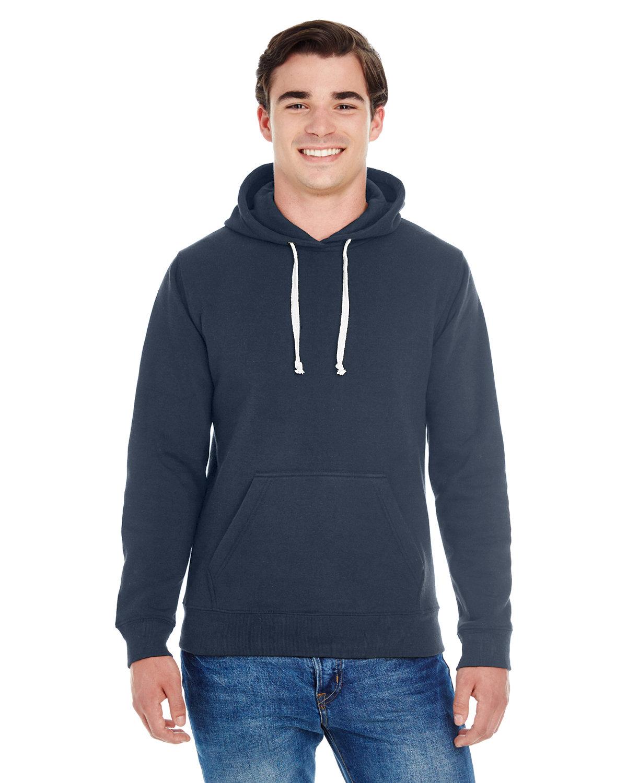 J America Adult Triblend Pullover Fleece Hooded Sweatshirt TRUE NAVY TRBLND