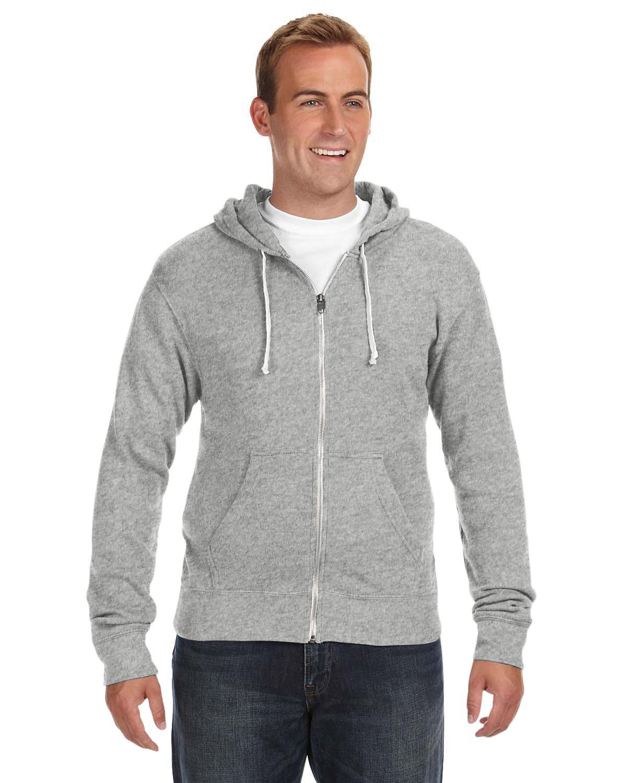 J America Adult Triblend Full-Zip Fleece Hooded Sweatshirt GREY TRIBLEND