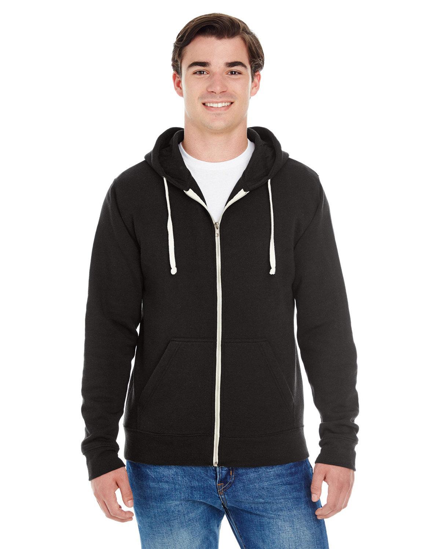 J America Adult Triblend Full-Zip Fleece Hooded Sweatshirt SOLID BLK TRBLND