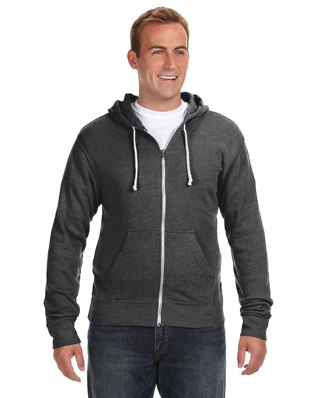 J America Adult Triblend Full-Zip Fleece Hooded Sweatshirt BLACK TRIBLEND