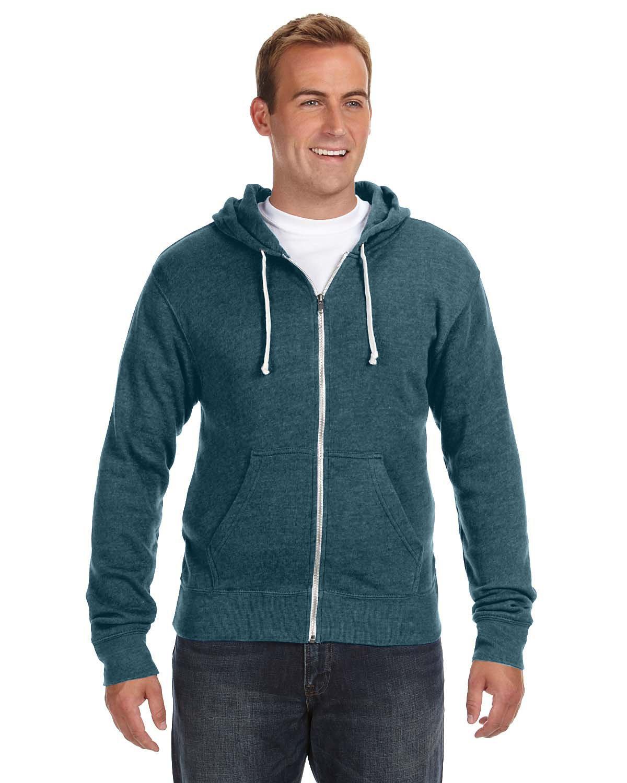 J America Adult Triblend Full-Zip Fleece Hooded Sweatshirt NAVY TRIBLEND