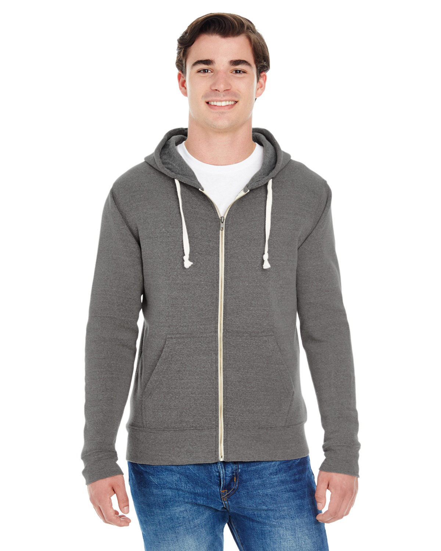J America Adult Triblend Full-Zip Fleece Hooded Sweatshirt SMOKE TRIBLEND
