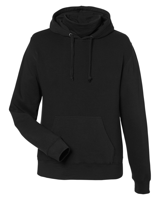 J America Unisex Gaiter Pullover Hooded Sweatshirt BLACK