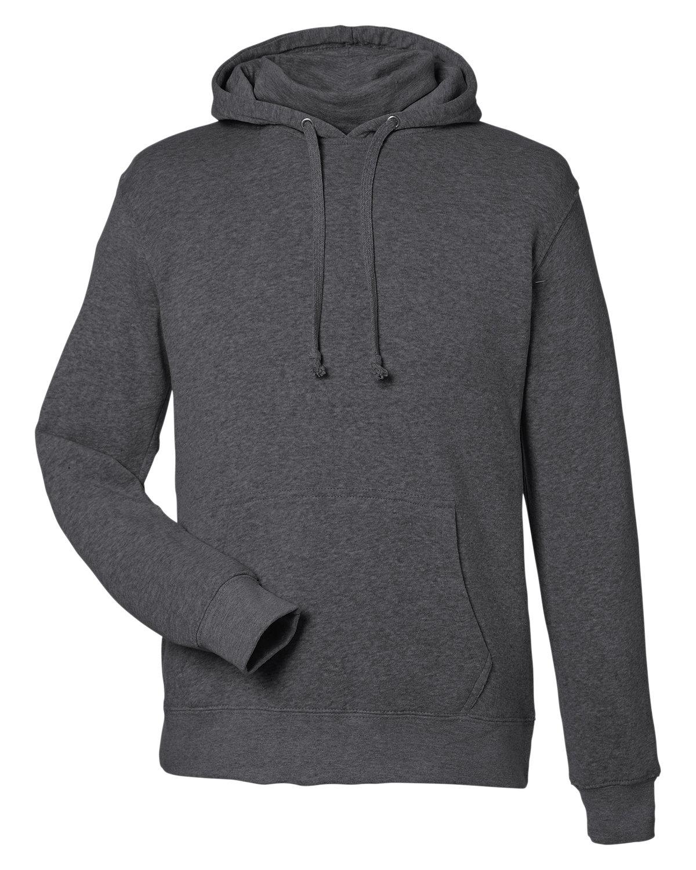 J America Unisex Gaiter Pullover Hooded Sweatshirt BLACK HEATHER