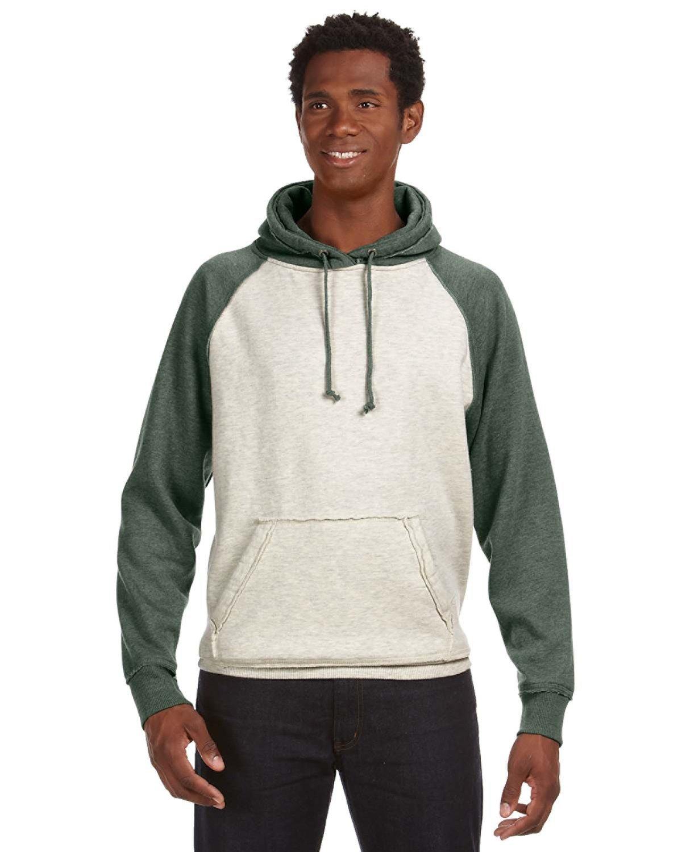 J America Adult Vintage Heather Pullover Hooded Sweatshirt OATML HTHR/ ARMY