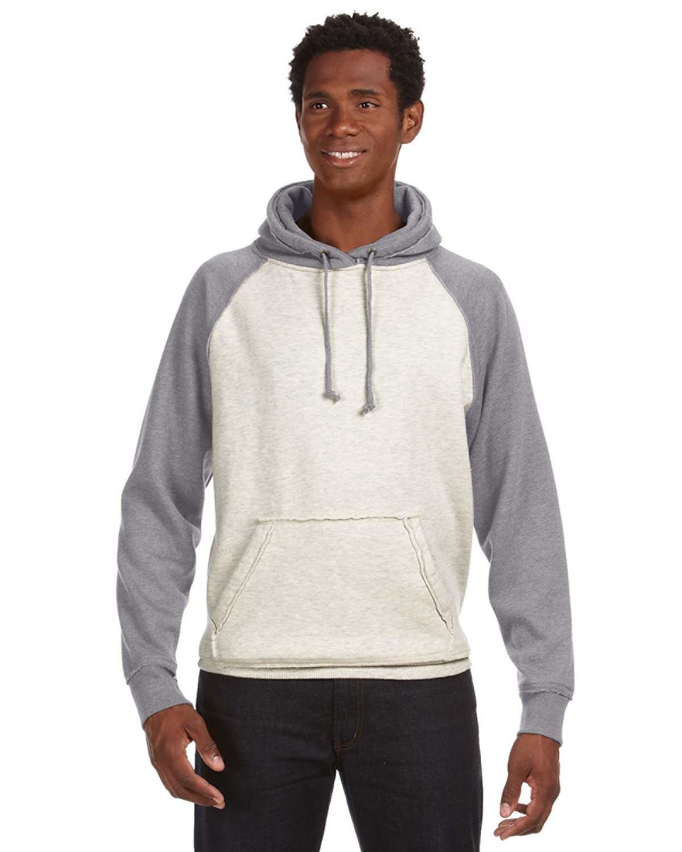J America Adult Vintage Heather Pullover Hooded Sweatshirt OATML HT/ SMK HT