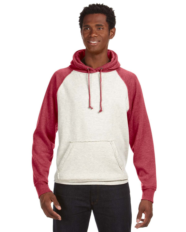 J America Adult Vintage Heather Pullover Hooded Sweatshirt OATML HTHR/ RED