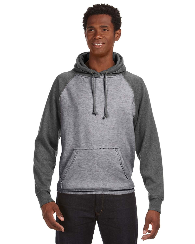 J America Adult Vintage Heather Pullover Hooded Sweatshirt SMOKE/ CHRCL HT